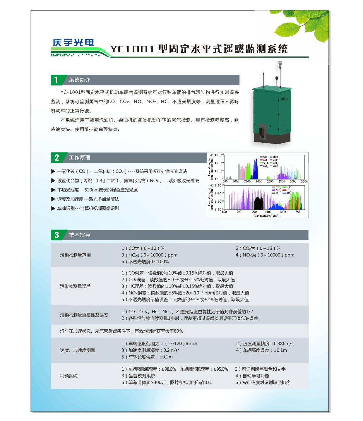 YC1001型固定式水平式尾氣遙感監測系統